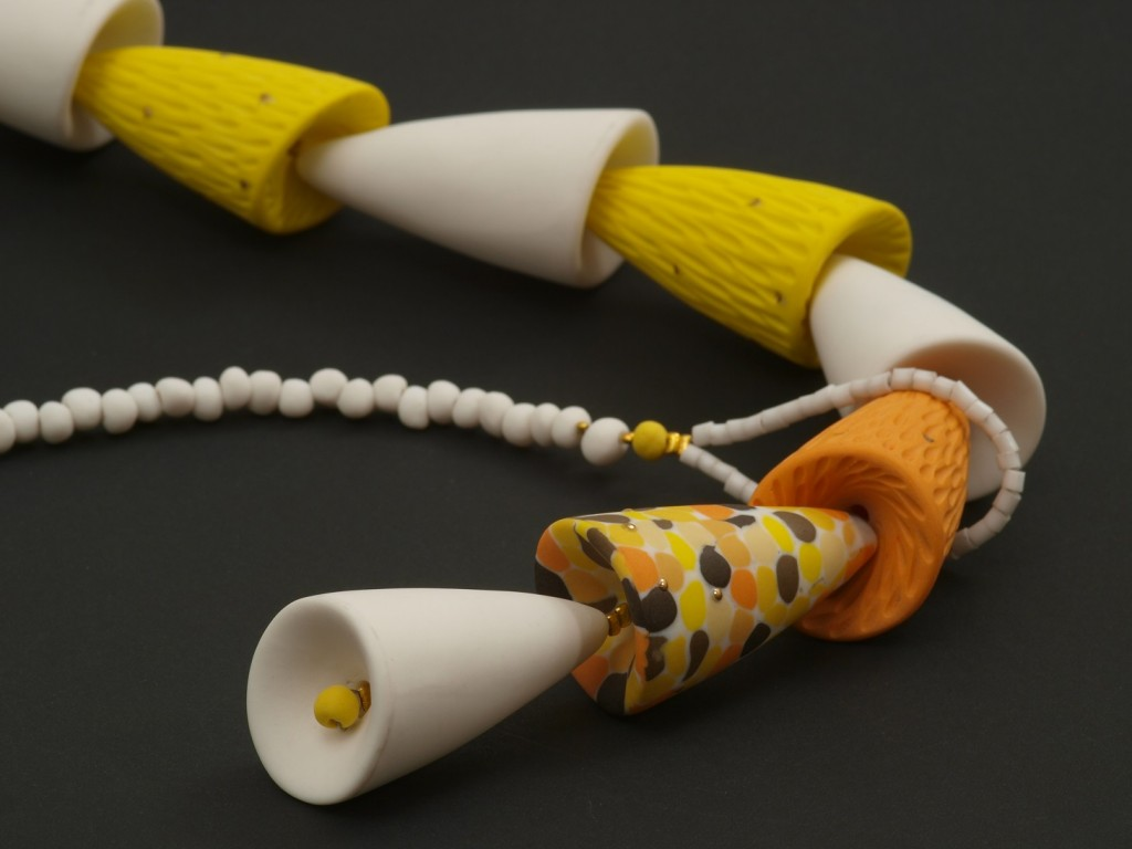 Tambores Serie, necklace, nerikomi porcelain and silver