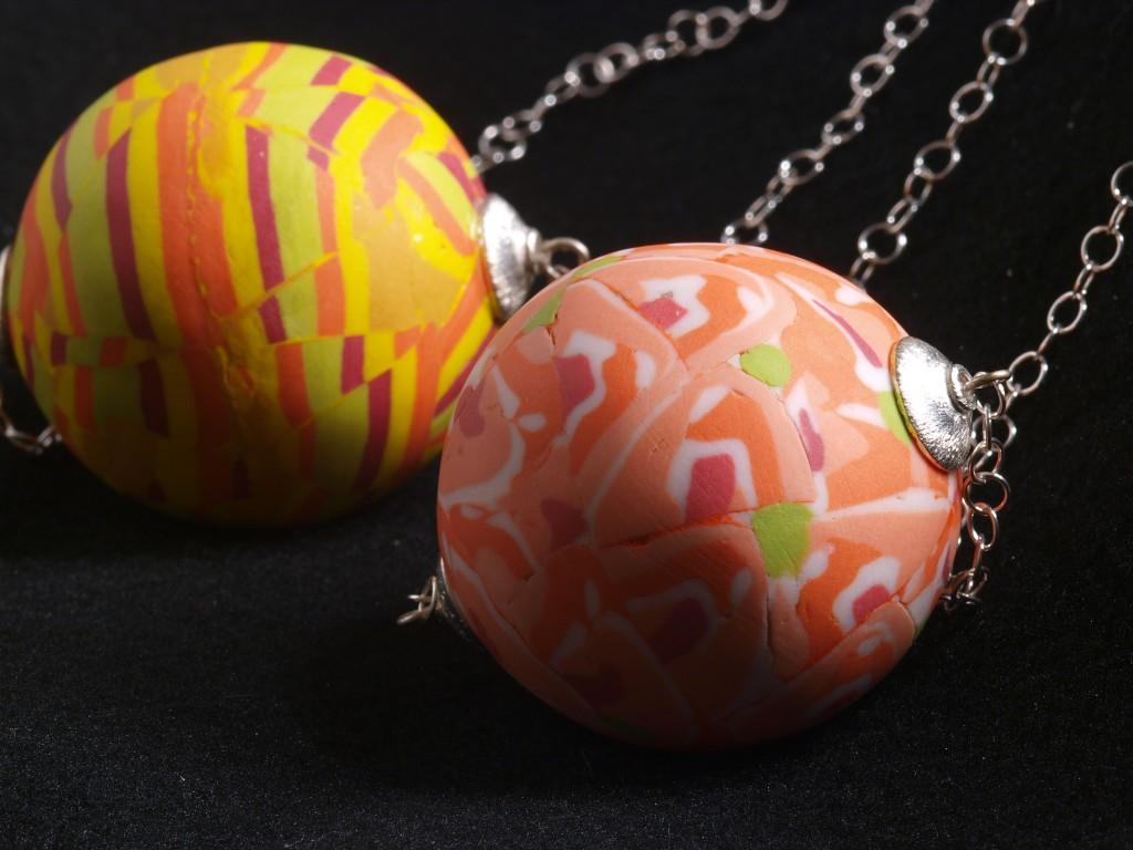 Perle rare, Pendants, Nerikomi porcelain and silver