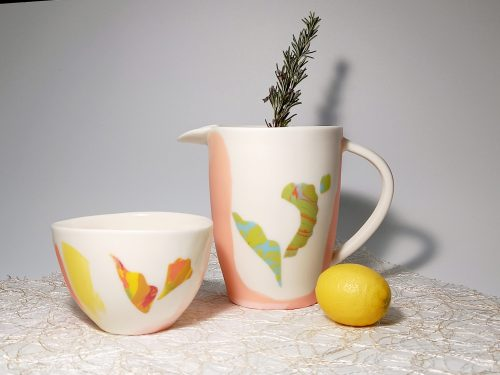 """Cup and jug """"Full color Tropical Collection"""""""